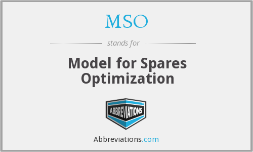 MSO - Model for Spares Optimization