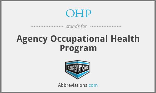 OHP - Agency Occupational Health Program