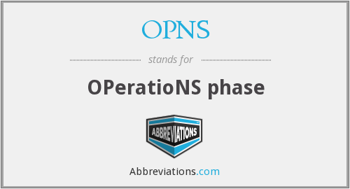 OPNS - OPeratioNS phase