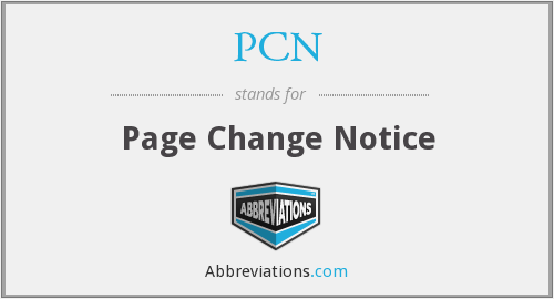 PCN - Page Change Notice