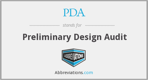 PDA - Preliminary Design Audit