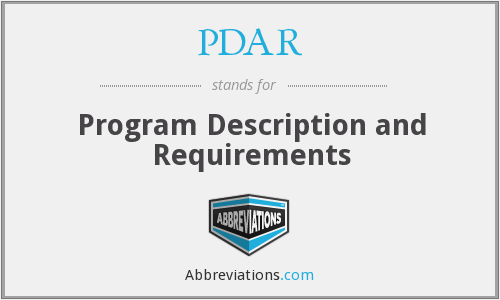 PDAR - Program Description and Requirements
