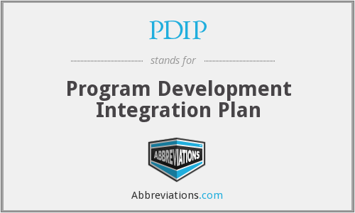 PDIP - Program Development Integration Plan