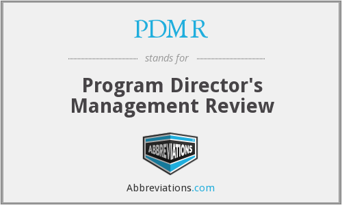 PDMR - Program Director's Management Review