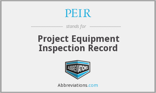PEIR - Project Equipment Inspection Record