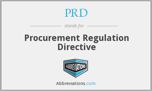 PRD - Procurement Regulation Directive