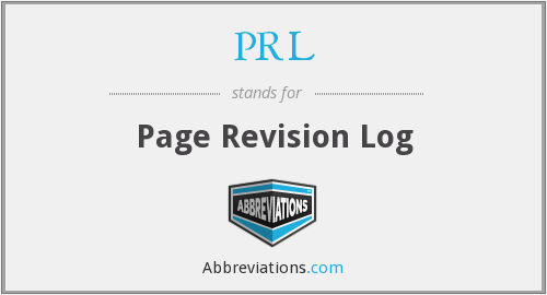 PRL - Page Revision Log