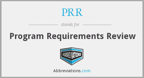 PRR - Program Requirements Review
