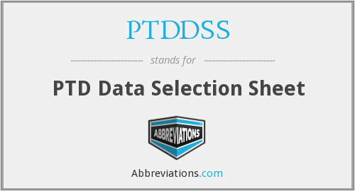 PTDDSS - PTD Data Selection Sheet