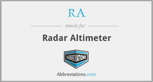 RA - Radar Altimeter (R/A preferred)