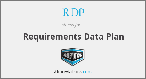 RDP - Requirements Data Plan