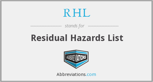 RHL - Residual Hazards List