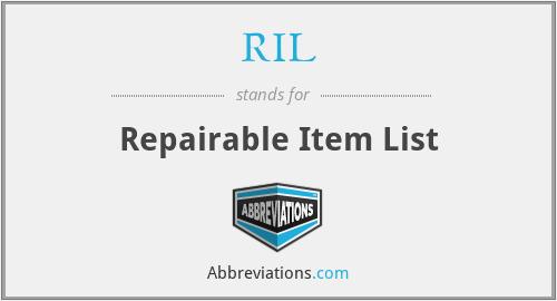 RIL - Repairable Item List
