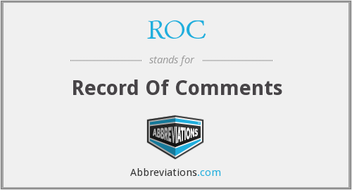 ROC - Record Of Comments