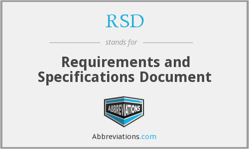 RSD - Requirements and Specifications Document