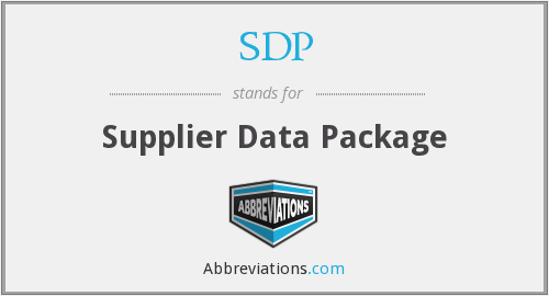 SDP - Supplier Data Package