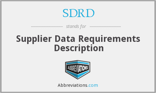 What does SDRD stand for?