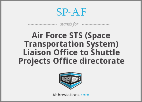 SP-AF - Air Force STS (Space Transportation System) Liaison Office to Shuttle Projects Office directorate
