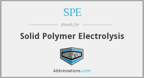 SPE - Solid Polymer Electrolysis