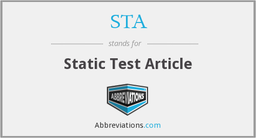 STA - Static Test Article