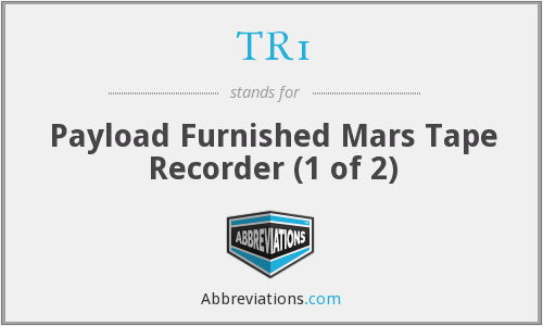 TR1 - Payload Furnished Mars Tape Recorder (1 of 2)