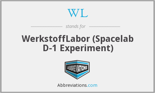 WL - WerkstoffLabor (Spacelab D-1 Experiment)