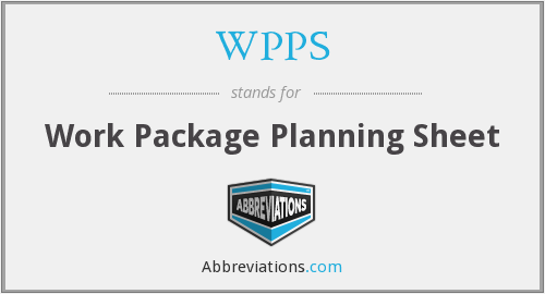 WPPS - Work Package Planning Sheet