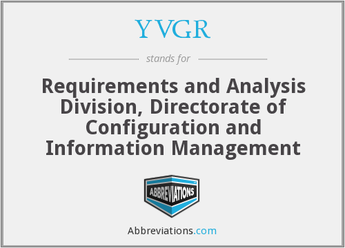 YVGR - Requirements and Analysis Division, Directorate of Configuration and Information Management