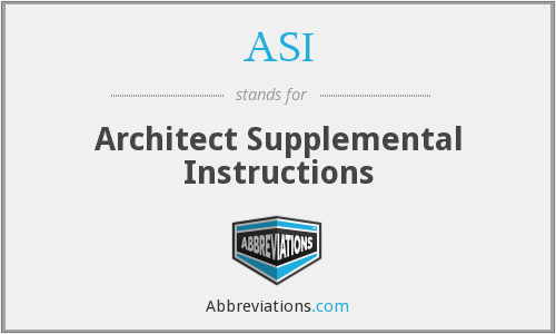 ASI - Architect Supplemental Instructions