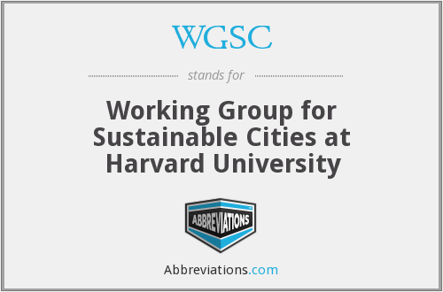 WGSC - Working Group for Sustainable Cities at Harvard University
