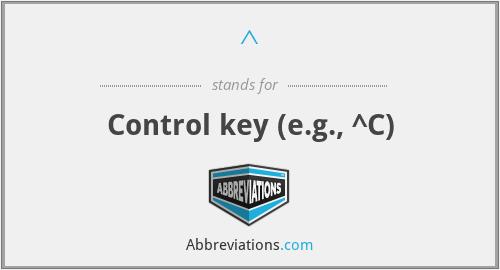 ^ - Control key (e.g., ^C)