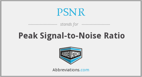 PSNR - Peak Signal-to-Noise Ratio
