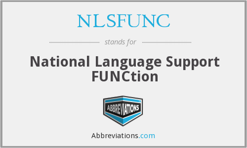 NLSFUNC - National Language Support FUNCtion