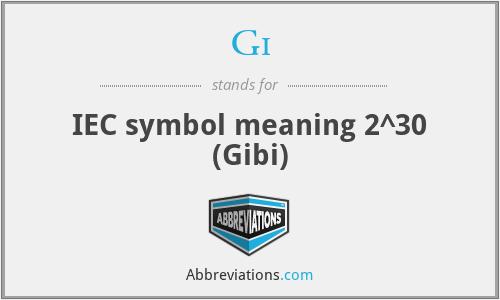 Gi - IEC symbol meaning 2^30 (Gibi)