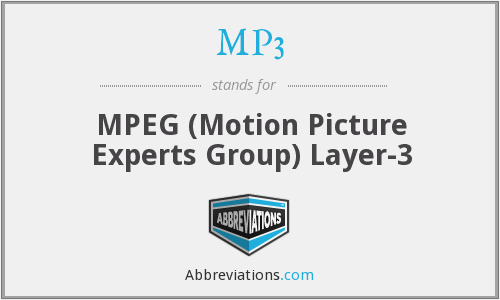 MP3 - MPEG (Motion Picture Experts Group) Layer-3
