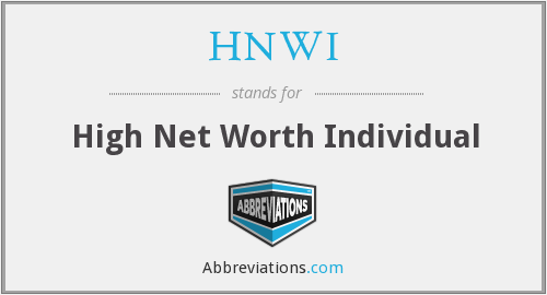 HNWI - High Net Worth Individual