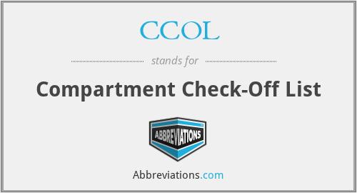 CCOL - Compartment Check-Off List