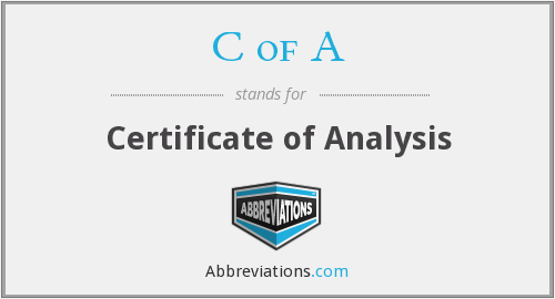 C of A - Certificate of Analysis