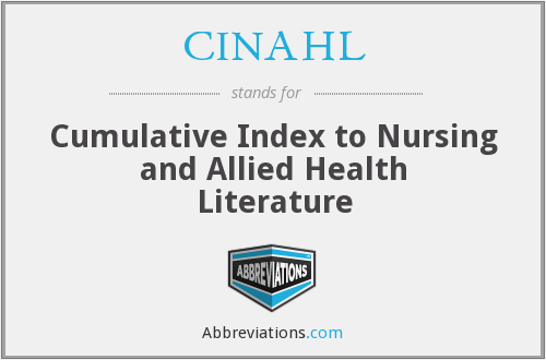CINAHL - Cumulative Index to Nursing and Allied Health Literature