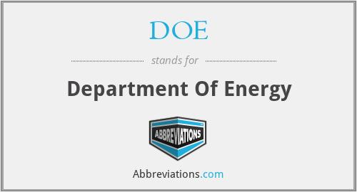 DOE - Department Of Energy