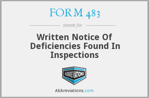 FORM 483 - Written Notice Of Deficiencies Found In Inspections
