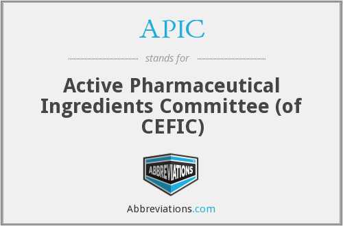 APIC - Active Pharmaceutical Ingredients Committee (of CEFIC)