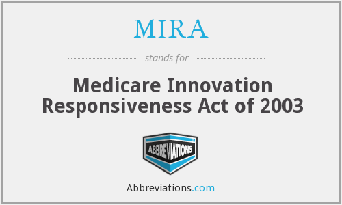 MIRA - Medicare Innovation Responsiveness Act of 2003