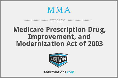 MMA - Medicare Prescription Drug, Improvement, and Modernization Act of 2003