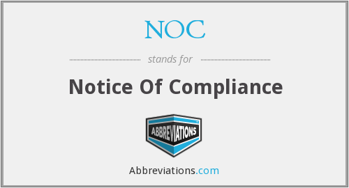 NOC - Notice Of Compliance