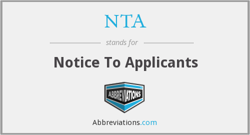 NTA - Notice To Applicants