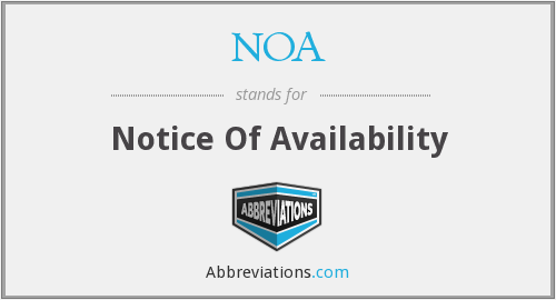 NOA - Notice Of Availability