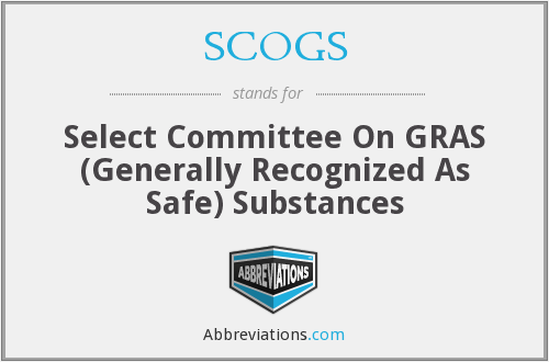 SCOGS - Select Committee On GRAS (Generally Recognized As Safe) Substances