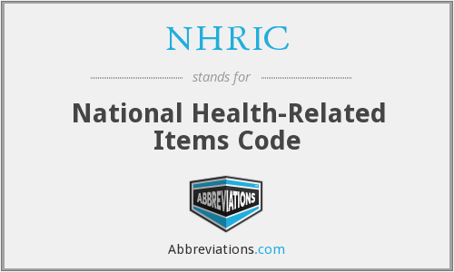 NHRIC - National Health-Related Items Code