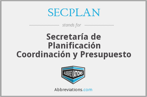 What does SECPLAN stand for?